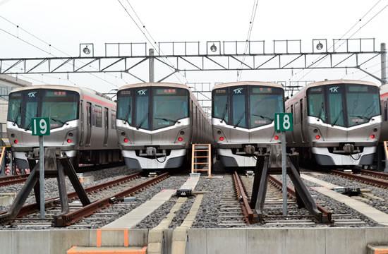 Японские поезда на стоянке